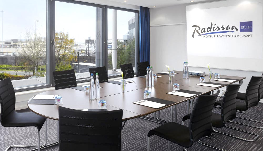 Management training meeting room in Radisson Blu Hotel in Manchester