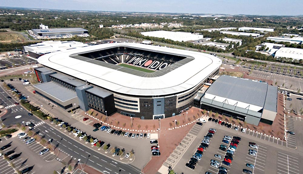 Milton Keynes Stadium management training facility aerial view